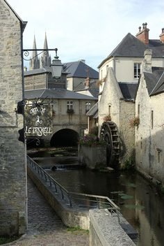 Water Mill on the river Aure, Bayeux, Normandy, France Water Wheels, Water Mill, Windmill, Cathedral, Normandy France, River, Mansions, House Styles, Home