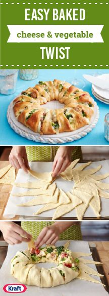 Easy Baked Cheese & Vegetable Twist – Try a new take on broccoli casserole this fall with this shareable appetizer recipe. This crescent roll ring is easy for any day or any party you have coming up this holiday season. Crescent Roll Ring Recipes, Crescent Rolls, Crescent Ring, Vegetarian Appetizers, Appetizer Recipes, Vegetarian Recipes, No Dairy Recipes, Cooking Recipes, Broccoli Casserole
