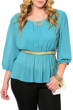 DHStyles Women's Plus Size Sexy Sheer Chiffon Embellished Waist Dressy Top ** Amazing product just a click away  : Women clothing