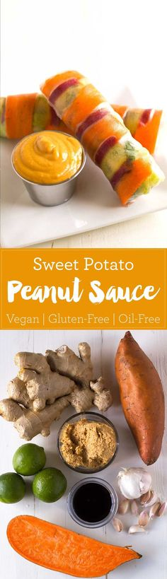 Sneak some fiber and veggies into a sweet and savory sweet potato peanut sauce! Oil-free, vegan, gluten-free, full of flavor! | eatwithinyourmean...