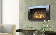 wall-mounted fireplaces ~ by anywhere fireplaces Wall Mounted Fireplace, Bioethanol Fireplace, Indoor Fireplaces, Fireplace Design, Fireplace Modern, Contemporary Fireplaces, Black Fireplace, Gas Fireplace, Steel Wall