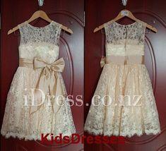 vintage sleeveless illusion lace children flower girl dress with keyhole back
