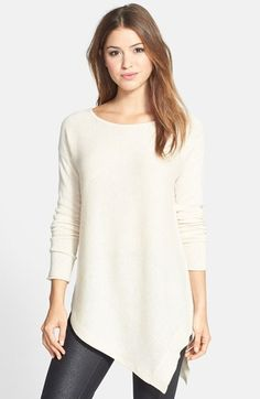 Free shipping and returns on Halogen® Wool & Cashmere Asymmetrical Sweater (Regular & Petite) at Nordstrom.com. A tunic-length sweater crafted from a supersoft blend of wool and cashmere gets a modern finish from a sharp, asymmetrical hem that's vented on one side.