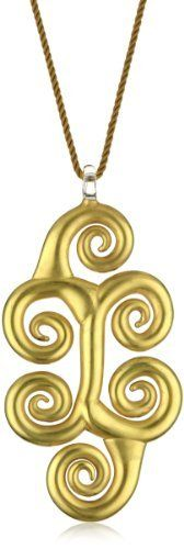 """Yummi Glass 24k Gold-Painted Murano Glass Swirl Pendant Necklace Yummi Glass. $246.88. Strung at 19"""". Made in Italy. Hand-made Murano glass necklace on rope cord with sterling silver toggle. All gold Klimt necklace with 24k gold paint"""
