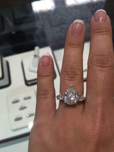 If only... 3ct pear shaped center stone, 0.5 ct pear shaped diamonds on the side; engagement ring; 3 ct; pear