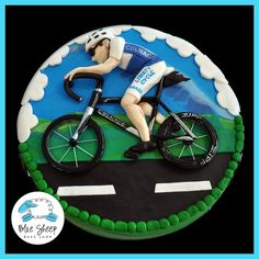 bicycle grooms cake sports cake - by Blue Sheep Bake Shop, Custom Cakes in NJ - like us on facebook! https://www.facebook.com/bluesheepbakeshop