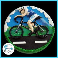 bicycle grooms cake sports cake - by Blue Sheep Bake Shop, Custom Cakes in NJ - like us on facebook! https://www.facebook.com/bluesheepbakeshop