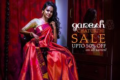 Like the lord for ladoos, have a big appetite for fashion this #festival for we give you big #discounts on account of #GaneshChaturthi! Upto 50% off on #sarees!  Log onto www.shatika.co.in to know more about us.  #Shatika #Onlineshopping #Sale