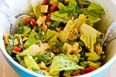 Kalyn's Kitchen®: Spicy Chicken Salad Recipe with Sugar Snap Peas, Cucumber, Red Bell Pepper, and Basil (Low-Carb)