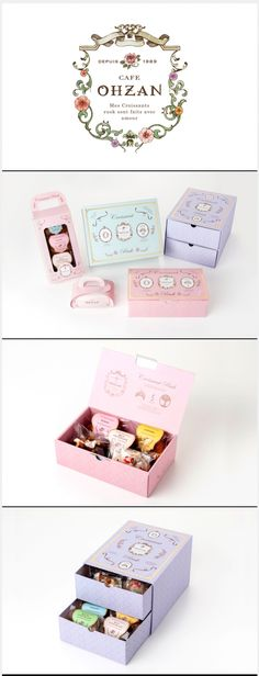 Cafe OHZAN croissants and cake pretty in pastel packaging PD