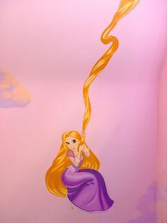 Rapunzel from Tangled using her hair to swing on, disney mural Castle Bedroom, Girl Bedroom Walls, Princess Mural, Disney Princess, Tangled Castle, Disney Mural, Little Girl Bedrooms, Colour Pallete, Disney Style