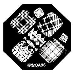 Nail Art Stamp Template Stylish Plaid Stripe Pattern QA96