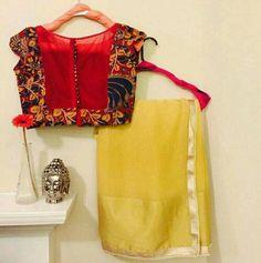 30 Timeless Kalamkari Blouse Patterns that you will love - Wedandbeyond Trendy Sarees, Fancy Sarees, Simple Sarees, Fancy Blouse Designs, Blouse Neck Designs, Dress Designs, Saree Blouse Patterns, Sari Blouse, Blouse Models
