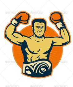 Champion Boxer Boxing Retro  #GraphicRiver         Vector illustration of a champion prize fighter boxer with boxing glove done in retro style with championship belt.     Created: 6February12 GraphicsFilesIncluded: JPGImage #VectorEPS Layered: Yes MinimumAdobeCSVersion: CS Tags: BoxingGlove #boxer #boxing #champion #championship #fighting #glove #heavyweight #illustration #male #prizefighter #retro #sector #sport