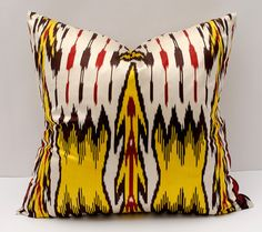 20x20 ikat pillow cover yellow red golden white yellow by SilkWay