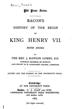 Sir Francis Bacon's 'History of the Reign of King Henry VII'-READ ONLINE