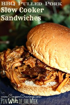 #BBQ Pulled #Pork #Crockpot #Slowcooker #recipe - Perfect for busy nights! http://couponcravings.com/2013/09/coupon-cravings-pin-win-week-bbq-pulled-pork-slow-cooker-sandwiches/