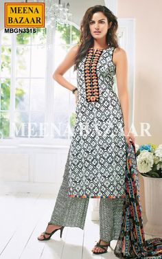 Offwhite Printed Cotton Palazzo Define your elegance and style with this lightest blue coloured suit. The striking geometrical print further adds a classy touch to this suit set and makes it a fabulous pick for casual occasions. Embellished with stunning patch work with multicolor thread embroidery at yoke and hem. Comes along matching chiffon dupatta and palazzo bottom. http://www.meenabazaar.com/new-arrivals/offwhite-printed-cotton-palazzo-suit.html
