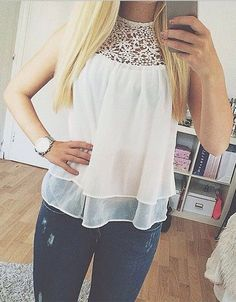 High-Neck Lace Detail Tank Top