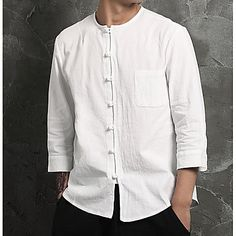 Men's Casual / Chinoiserie Cotton / Linen Shirt - Solid Colored White XL / L. Fall Blazer, Casual Blazer, Casual Shirts, Cheap Mens Shirts, Mens Shirts Online, Men Shirts, Gq Style, Mode Style, Chinoiserie