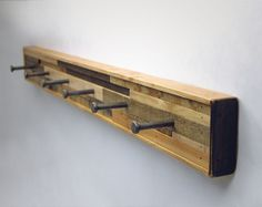 Coat Rack--use old-fashioned nails for hooks. I really need a nail gun...