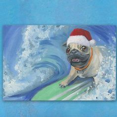 """Ivy Bronx 'Santa Catching the Wave' Painting Print on Wrapped Canvas Size: 30"""" H x 45"""" W x 1.5"""" D"""