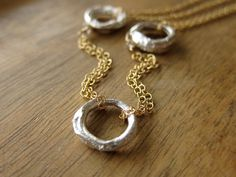 Recycled Sterling Circles and Gold Chain by erinjanedesigns, $120.00