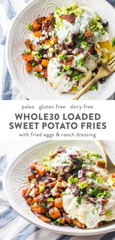 Loaded Sweet Potato Fries Loaded Sweet Potato Fries Kelsea Jensen kelseajensen Whole 30 With bacon fried eggs guacamole green onions and garlicky ranch nbsp hellip recipes whole 30 Whole Foods, Whole 30 Snacks, Paleo Whole 30, Whole Food Recipes, Healthy Recipes, Whole 30 Vegetarian, Meatless Whole 30 Recipes, Rice Recipes, Clean Food Recipes