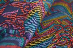 African print fabric blue yellow red Cotton Sateen fabric
