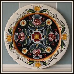 """14"""" Hand painted wooden plate,Norwegian Rosemaling,Os style"""