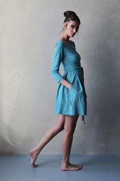 """Short Dress / Платье """"ММ мини с вырезом - Весеннее небо"""" - голубой, голубое платье, трикотажное платье"""