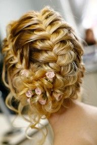 Bride's loose multiple French braided chignon bridal hair ideas Toni Kami Wedding Hairstyles ♥ ❶ wedding hairstyle with pink roses Popular Hairstyles, Pretty Hairstyles, Braided Hairstyles, Wedding Hairstyles, Braided Updo, Wedding Updo, Fishtail Updo, Prom Updo, Updo Hairstyle