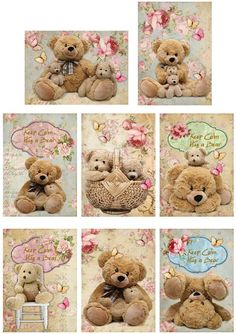 Sewing Teddy Bear Vintage Inspired 8 Teddy Bears Keep Calm Hug A Bear Small Cards Scrap Booking - Etiquette Vintage, Teddy Bear Pictures, Images Vintage, Pintura Country, Tatty Teddy, Small Cards, Bear Art, Quilted Pillow, Printing On Fabric