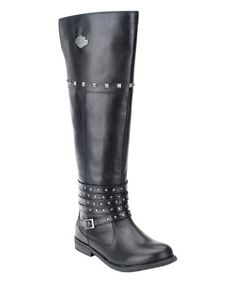Another great find on #zulily! Black Keeley Leather Motorcycle Boot - Women #zulilyfinds