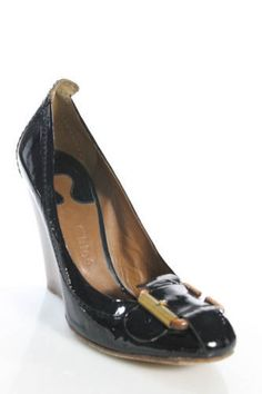24449d8fa CHLOE Black Brown Patent Leather Round Toe Buckle Detail Solid Wedges EUR  Sz 40  Chloe