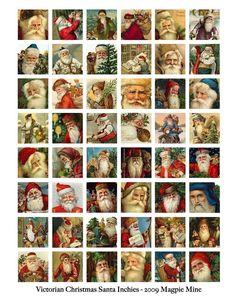 Instant Download - Christmas - Victorian Santas Collage Sheet - Vintage Santa…