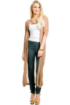 Long Knit Cardigan in Camel... I want one.