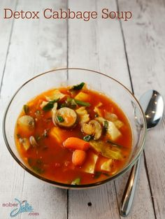Detox Cabbage Soup Recipe from SoberJulie ~ a healthy idea for dinner or through the day