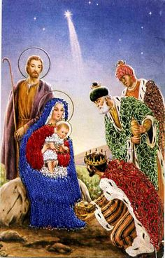 "Postcard ""Holy Family"" Mary Joseph Baby Jesus Silk Embroidered Spain"