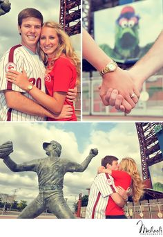 Cute engagement session at Citizen's Bank Park in Philadelphia, PA - home of the Phillies!  Photos by Michael's Photography in Bensalem, PA
