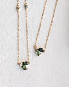 New green sapphire Juniper necklaces At melaniecasey.com