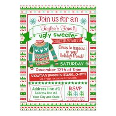 4x6 Christmas Party invitation card ugly sweater
