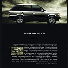 """Land Rover sales add from 2002 featuring a Range Rover just like my Roxie :) #landrover #rangerover #p38"""