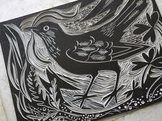 "The first inked up block of Mark Hearld's ""Ballindalloch Blackbird"" linocut http://www.stjudesprints.co.uk/products/blackbird"