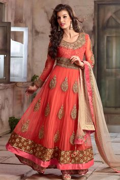Peach Net Designer Anarkali Suit with Embroidered,Patch Work and Lace Work - Z1029P4105-2