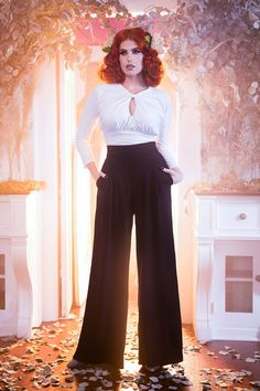 Elegant 40's inspired wide leg pants in black crepe | Pinup Girl Clothing