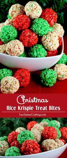 Christmas Rice Krispie Treat Bites - Yummy, bite-sized balls of crunchy, marshmallow-y delight. This is a Christmas Dessert that is easy to make and even better to eat. These colorful and festive Christmas Treats will definitely stand out on a Christmas Dessert Table. They would be great as a Holiday Party dessert or a snack for a school Christmas Party. Follow us for more fun Christmas Food Ideas. #christmasideasforkids