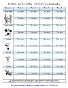Best Glute Exercises for Men Workout Routine - Free Printout Log ...