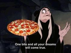 Evil witch offers pizza