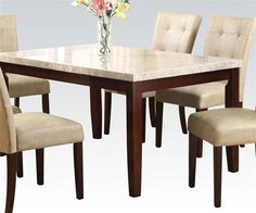 Britney White Walnut Marble Wood Rectangle Dining Table